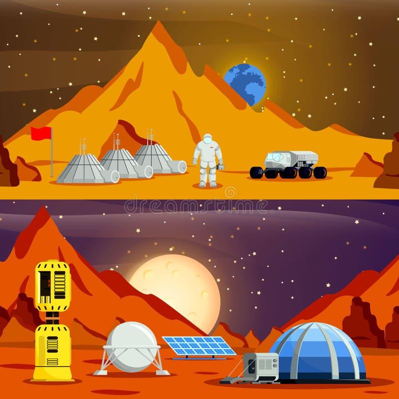 Composiciones planas de la colonización del planeta libre illustration