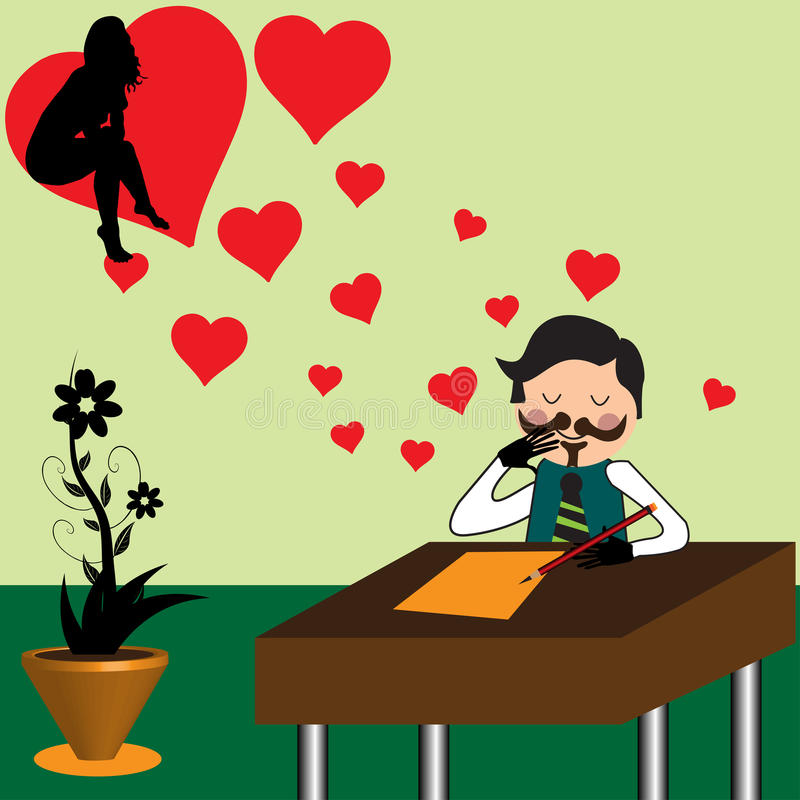 Composing a love letter stock photography