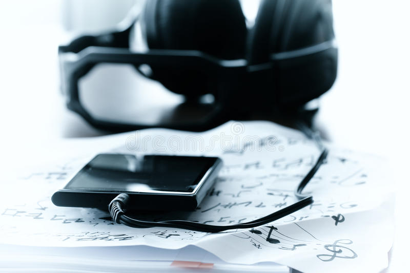 Composing music concept with shallow DOF evenly matched jack of. Headphone and copy space royalty free stock photos