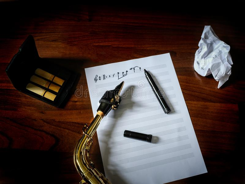 Composing music stock photography