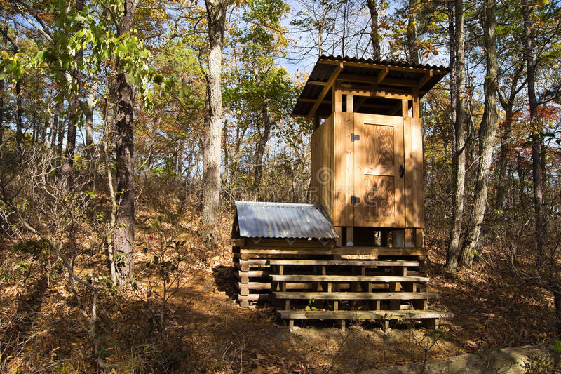 Composing Privy on the Appalachian Trail. Composing privy at Niday Shelter on the Appalachian Trail in Craig County in Southwest Virginia stock images