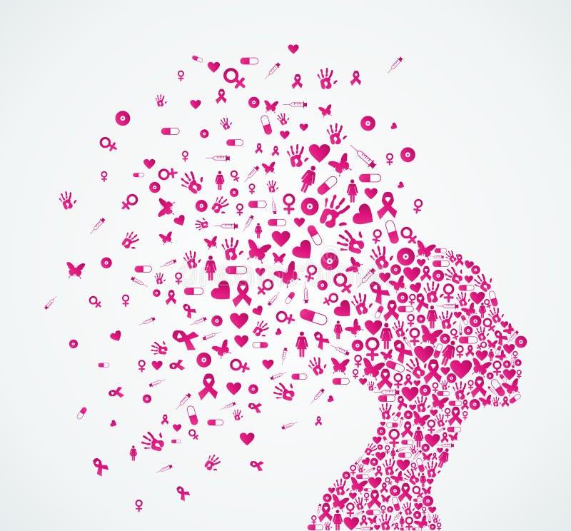 Composit de tête de femme de ruban de conscience de cancer du sein illustration libre de droits
