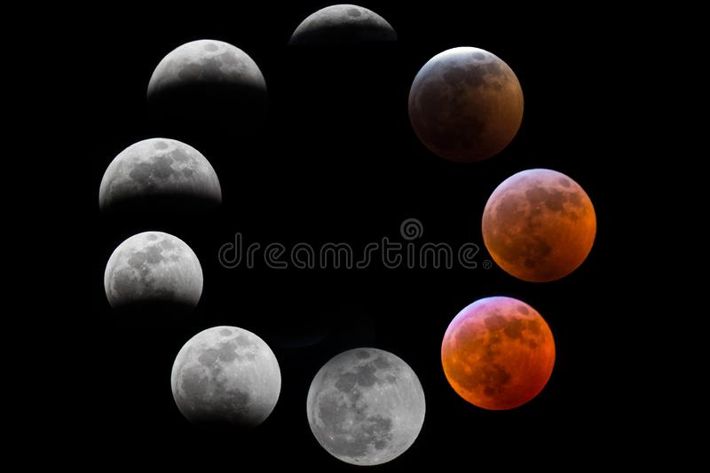 Composit of the moon phases during an eclipse royalty free stock photo