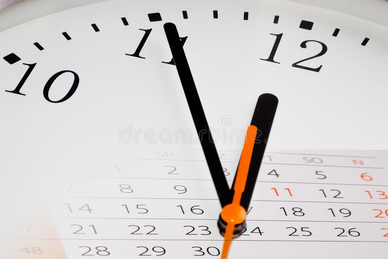 Composite of Clock and Calendar royalty free stock image