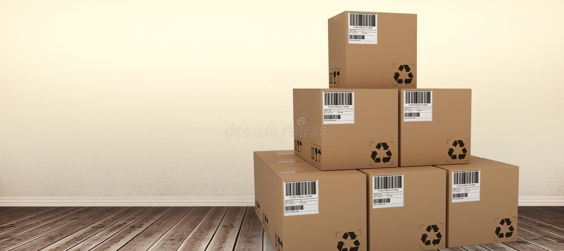 Composite 3d image of brown packed cardboard boxes. Brown packed cardboard 3D boxes against room with wooden floor stock illustration