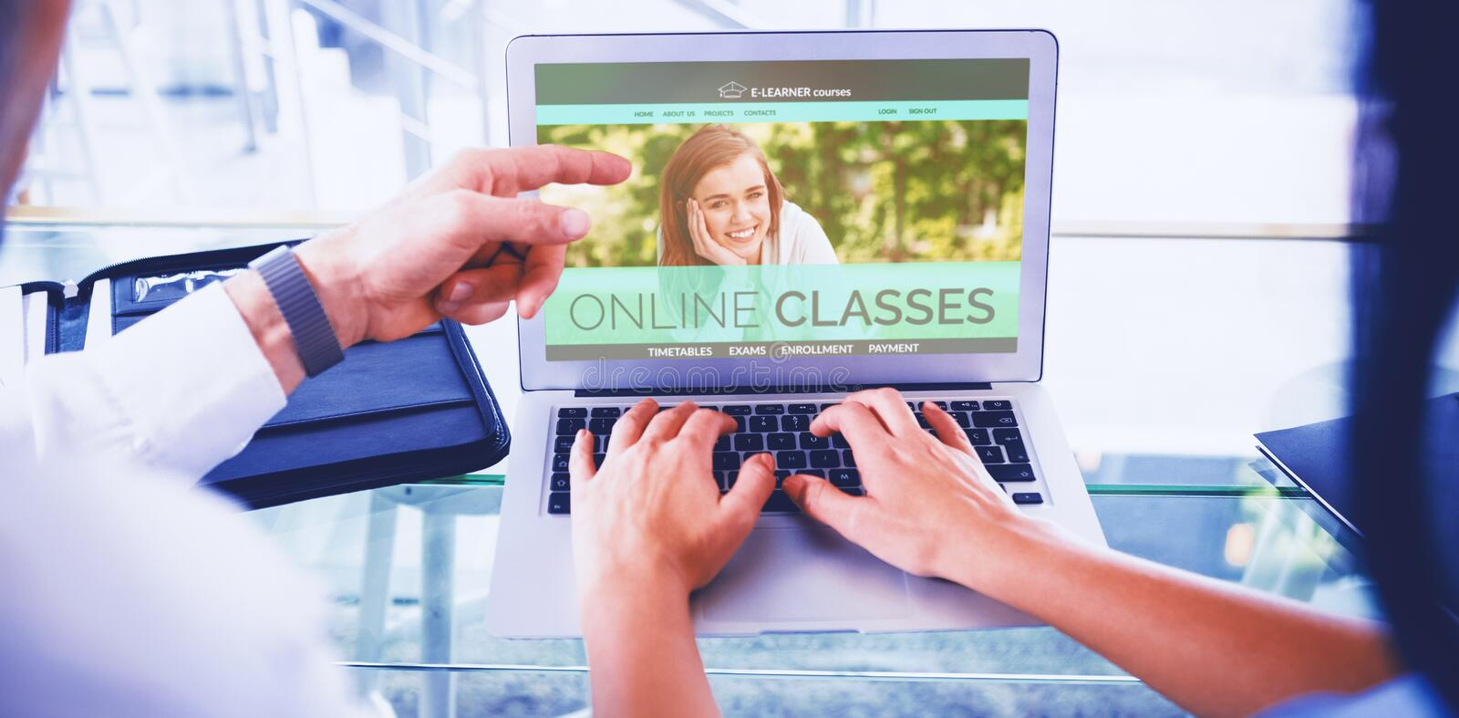 Composite 3d image of composite image of e-learning interface on screen royalty free stock photos