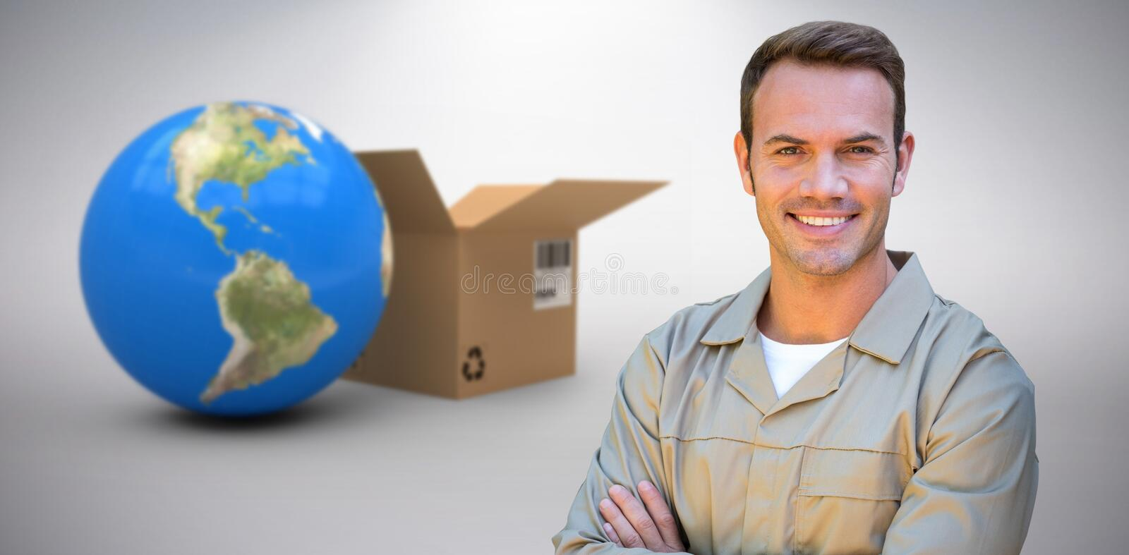 Composite 3d image of confident delivery man standing with arms crossed. 3D image of confident delivery man standing with arms crossed against grey background stock photography