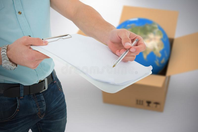 Composite 3d image of delivery man with clipboard asking for signature. 3D image of delivery man with clipboard asking for signature against grey background stock photos