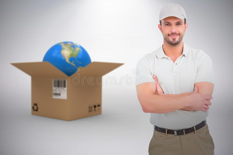 Composite 3d image of delivery man standing arms crossed. 3D image of delivery man standing arms crossed against grey background royalty free stock photos
