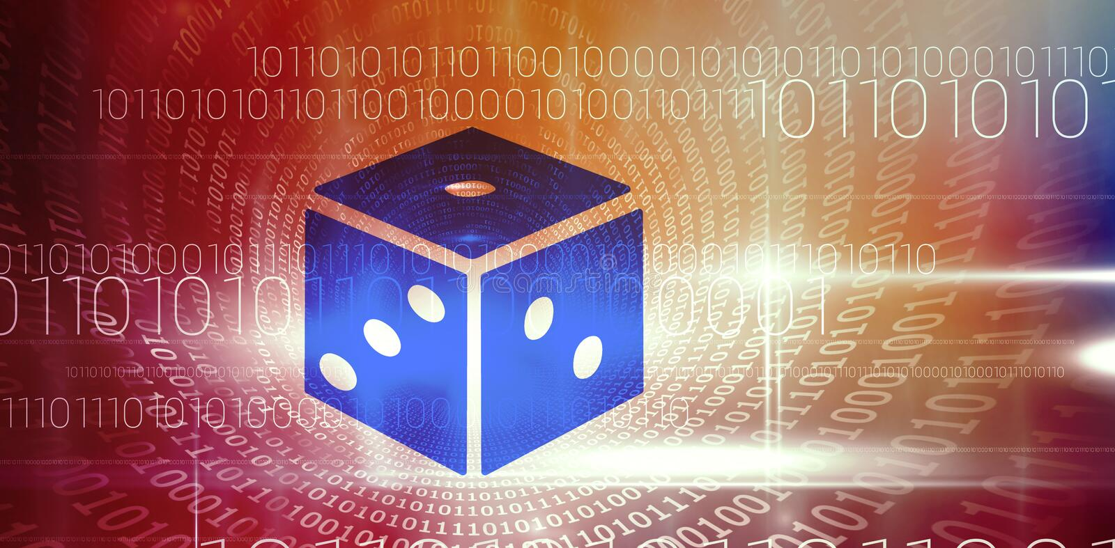 Composite 3d image of dice. 3D dice against spiral of shiny binary code stock illustration