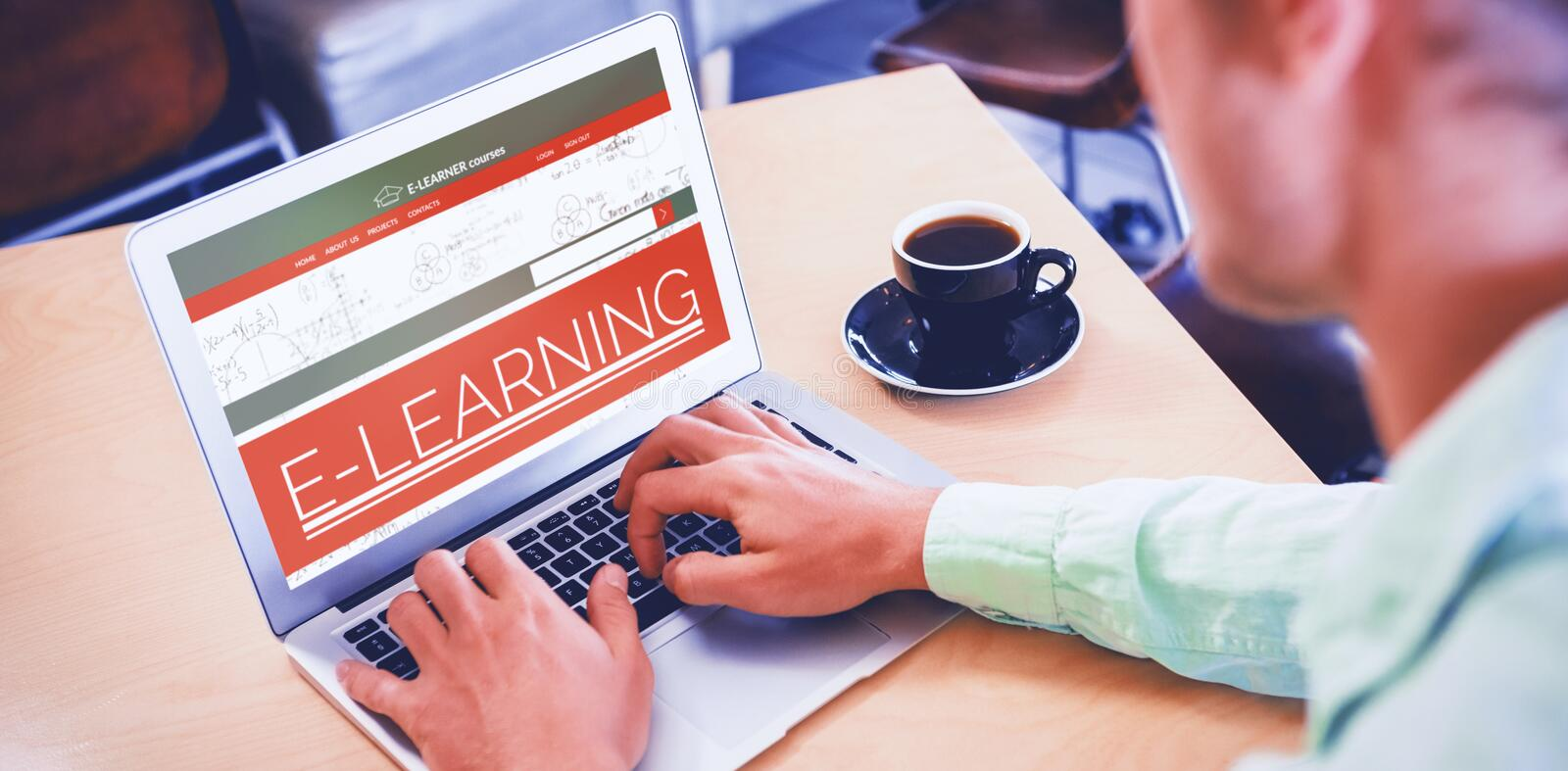 Composite 3d image of digital composite image of e-learning interface on screen stock images