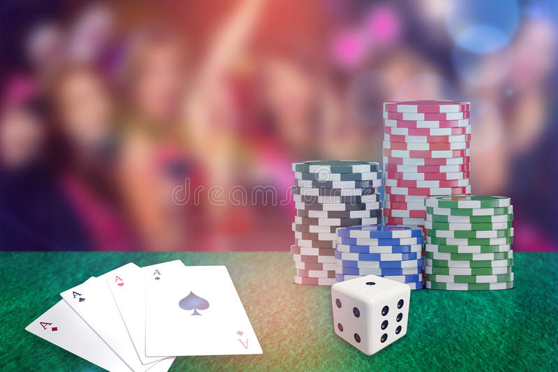 Composite 3d image of digital image of red dice. Digital 3D image of red dice against pretty friends on a hen night stock illustration