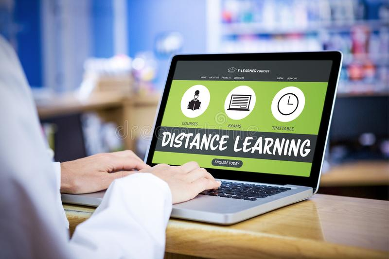 Composite 3d image of graphic image of e-learning interface on screen. Graphic 3D image of e-learning interface on screen against businessman using a laptop royalty free stock image