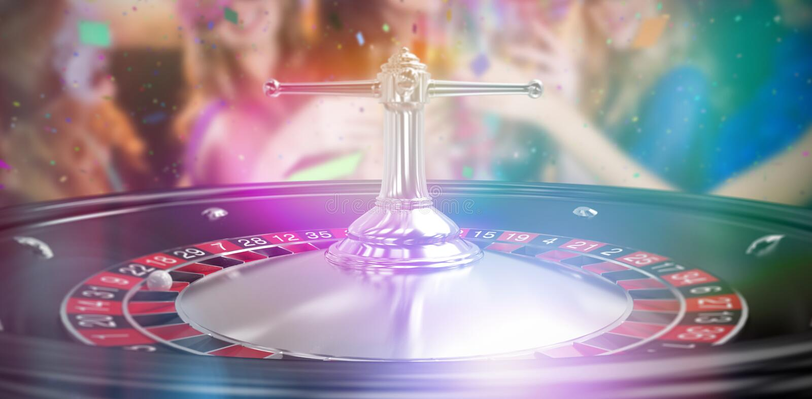 Composite 3d image of group of friends toasting glass of champagne. Group of friends toasting glass of champagne against close up image of 3d roulette wheel stock photos