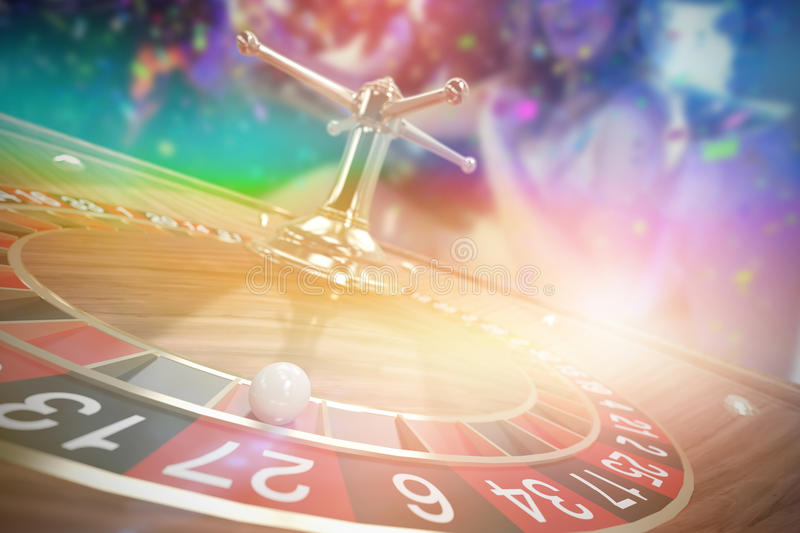 Composite 3d image of happy friends having fun in limousine. Happy friends having fun in limousine against 3d image of ball on wooden roulette wheel royalty free stock image