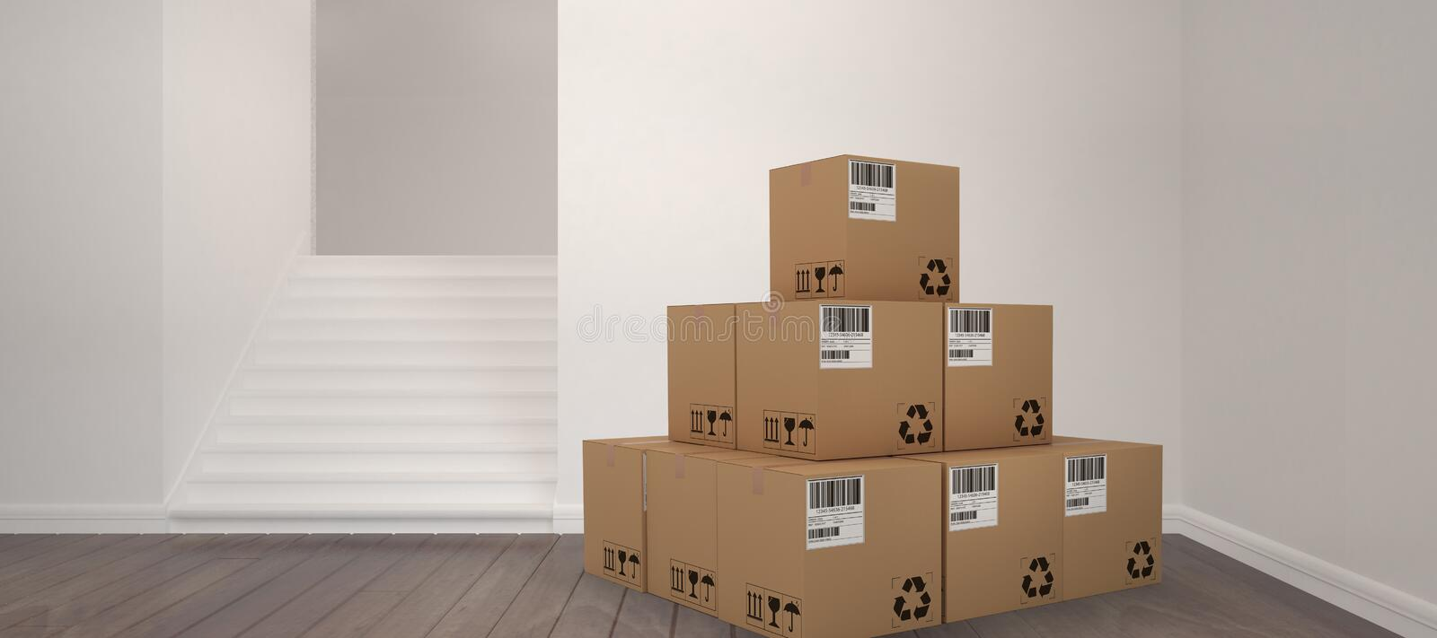 Composite 3d image of heap of brown packed cardboard boxes stock illustration