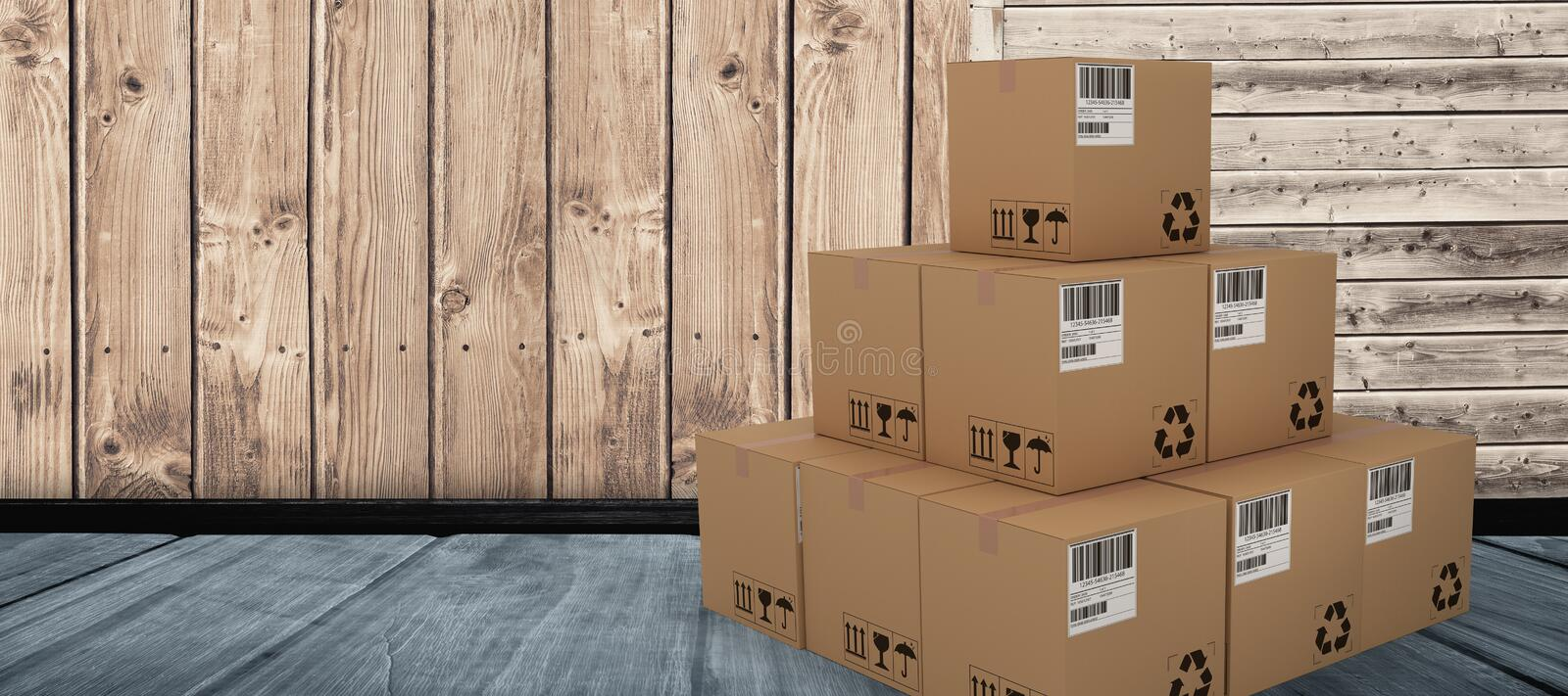Composite 3d image of heap of packed cardboard boxes. Heap of packed cardboard 3D boxes against wooden floor stock illustration