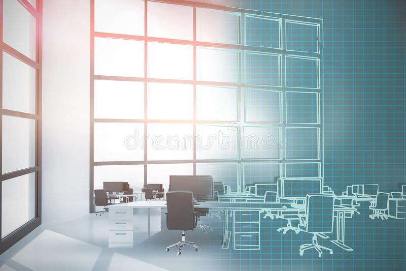 Composite 3d image of illustration of chairs by desks at office stock illustration