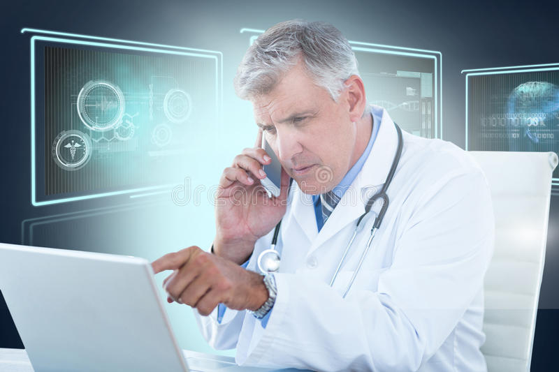Composite 3d image of male doctor pointing at laptop while using mobile phone. Male doctor pointing at laptop while using mobile phone against composite 3D image royalty free stock images