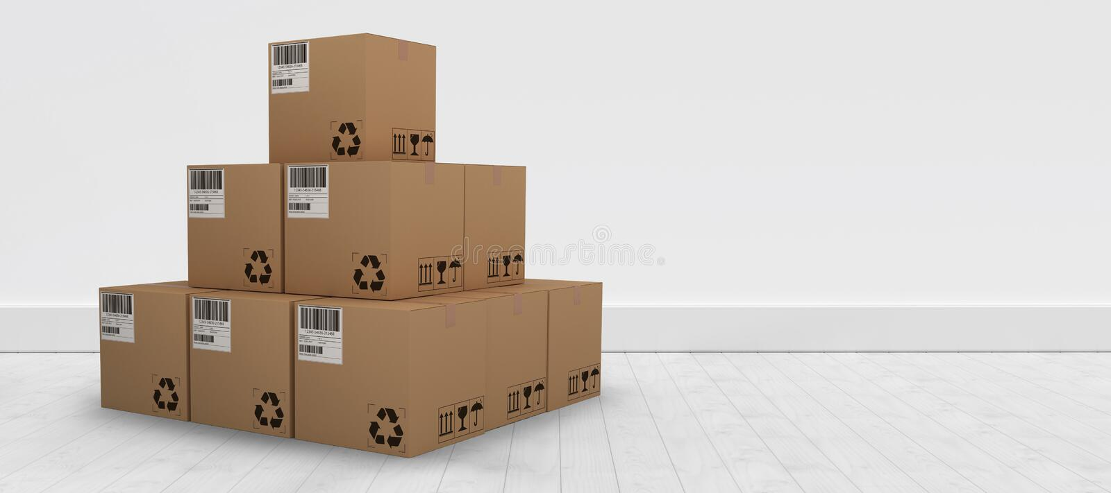 Composite 3d image of pile of brown packed cardboard boxes. Pile of brown packed cardboard 3D boxes against gray flooring and wall royalty free illustration