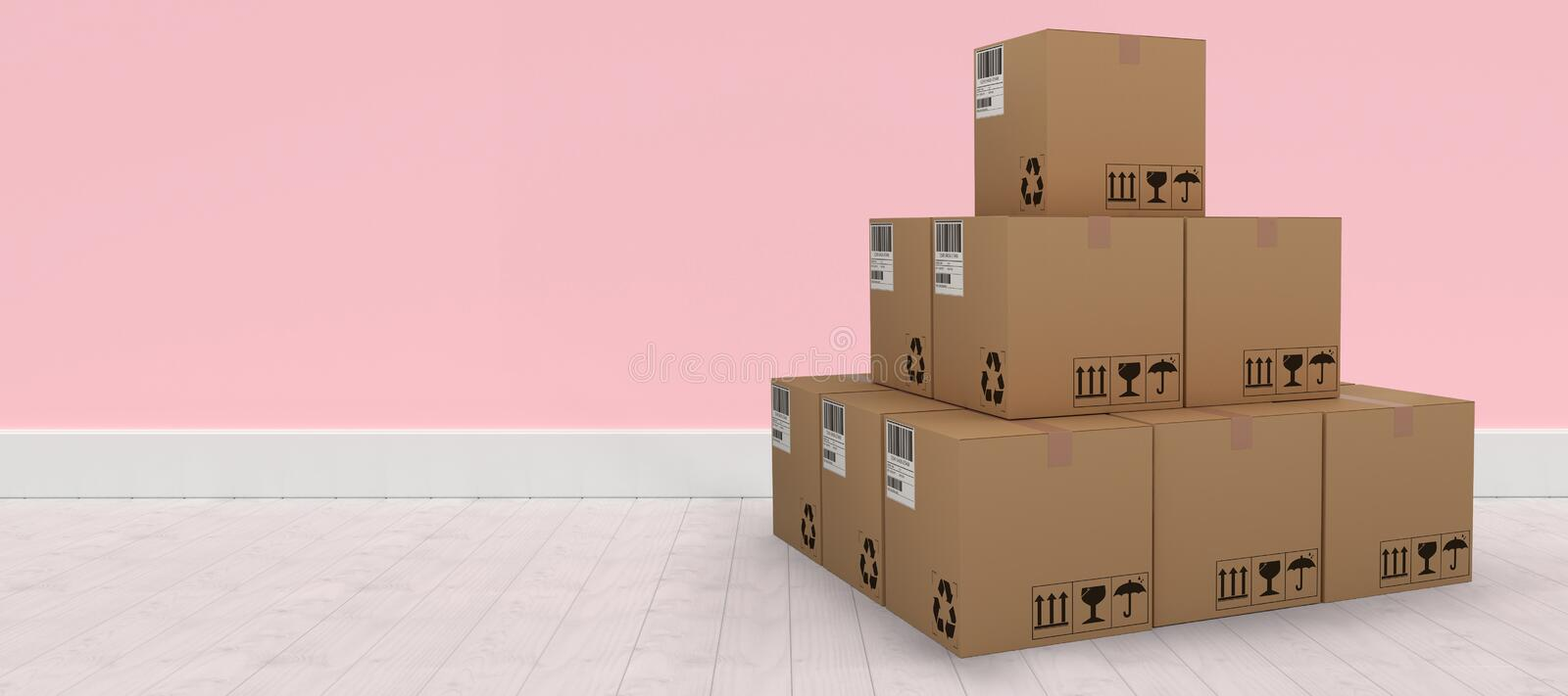 Composite 3d image of pile of packed cardboard boxes. Pile of packed cardboard 3D boxes against pink wall by hardwood floor vector illustration
