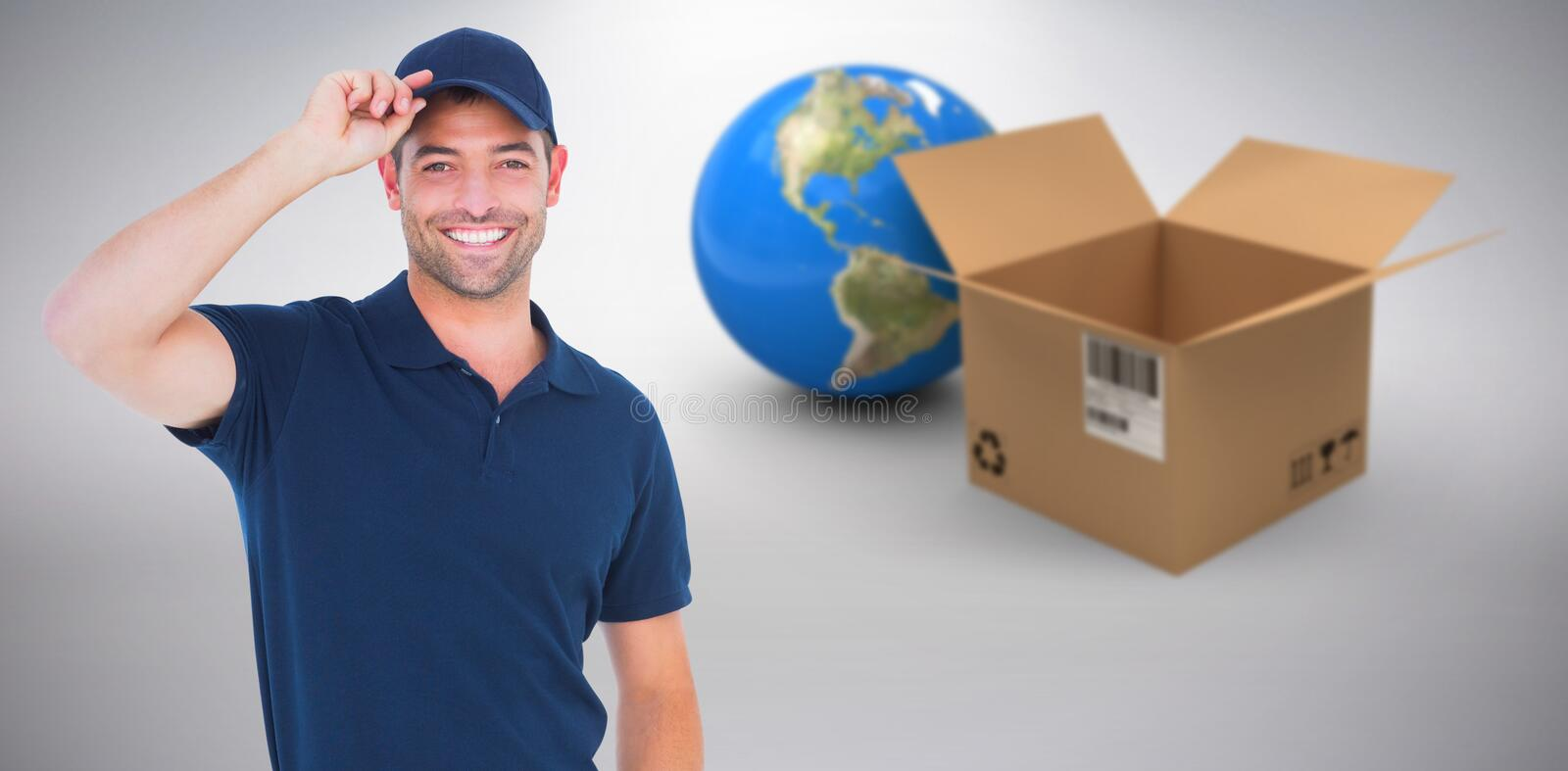 Composite 3d image of portrait of happy delivery man wearing cap stock image