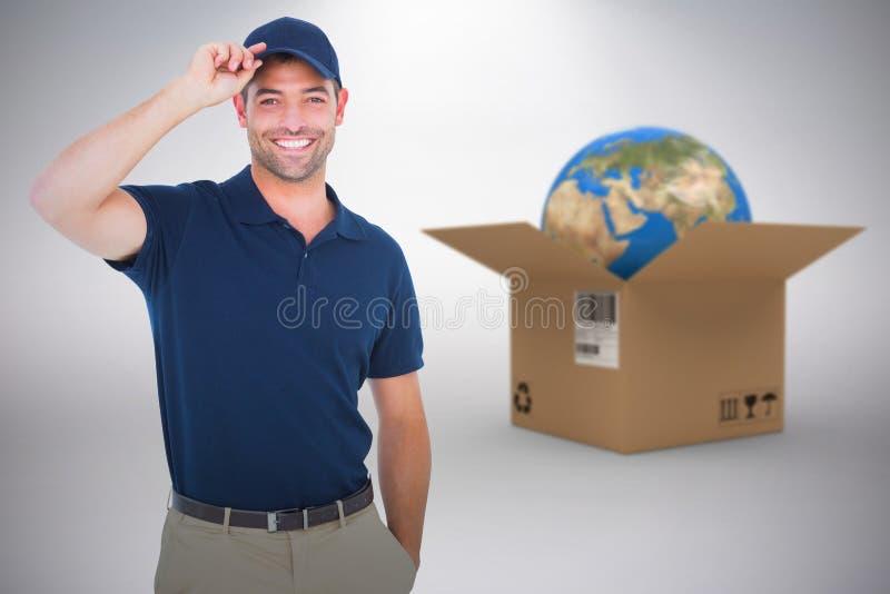 Composite 3d image of portrait of happy delivery man wearing cap. 3D image of portrait of happy delivery man wearing cap against grey background stock photos