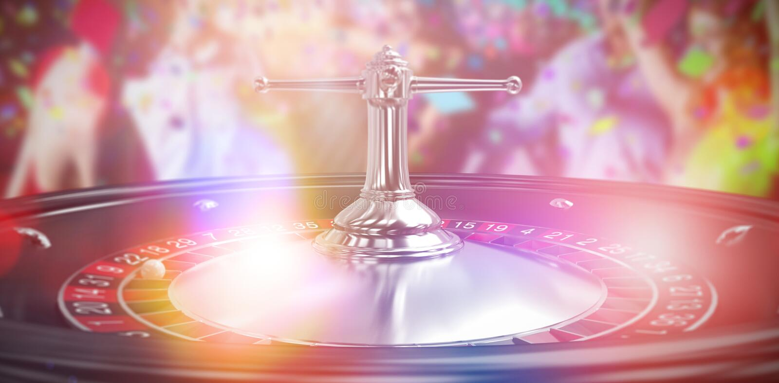Composite 3d image of smiling friends dancing on dance floor. Smiling friends dancing on dance floor against close up image of 3d roulette wheel stock images