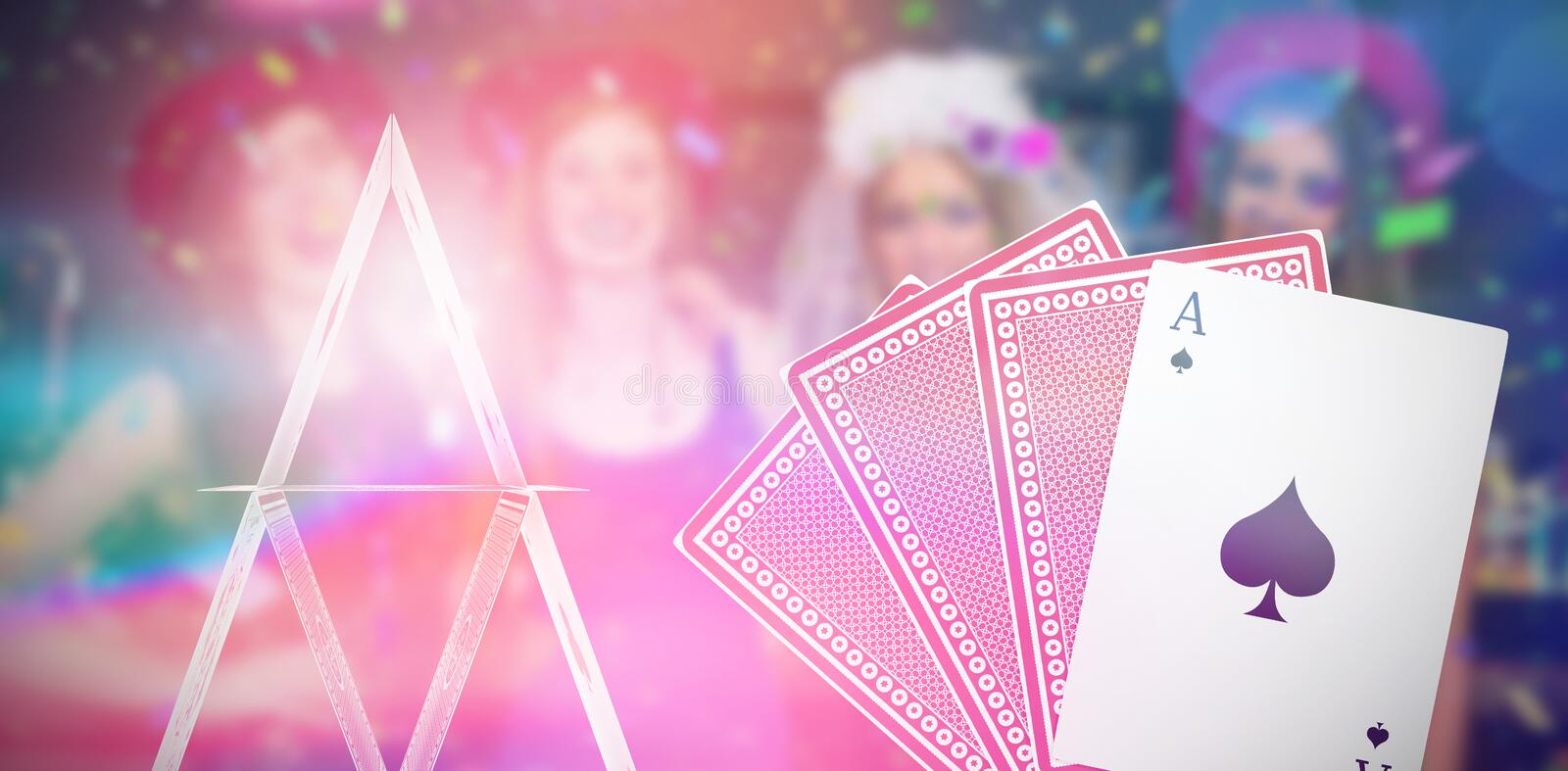 Composite 3d image of smiling friends having hen party. Against ace of spades with playing cards stock photography