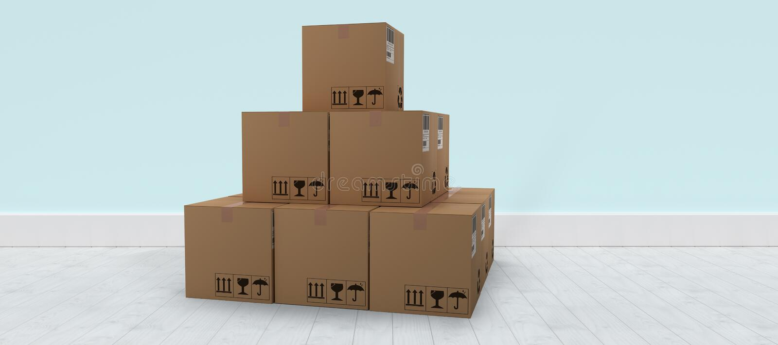 Composite 3d image of stack of brown packed cardboard boxes. Stack of brown packed cardboard 3D boxes against blue wall by hardwood floor royalty free illustration