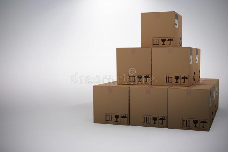 Composite 3d image of stack of brown packed cardboard boxes. Stack of brown packed cardboard 3D boxes against grey background stock illustration