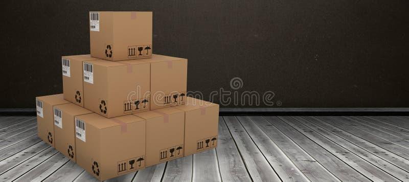 Composite 3d image of stack of packed cardboard boxes. Stack of packed cardboard 3D boxes against dark room vector illustration