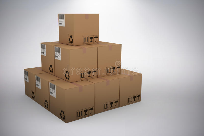 Composite 3d image of stack of packed cardboard boxes. Stack of packed cardboard 3D boxes against grey background vector illustration