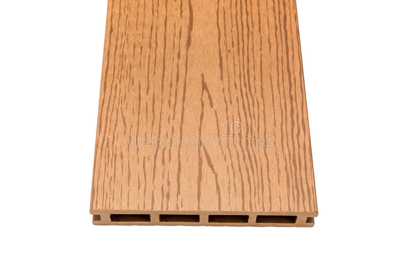 Composite decking board with wood grains on white. Composite decking board with wood grains isolated on white background stock images