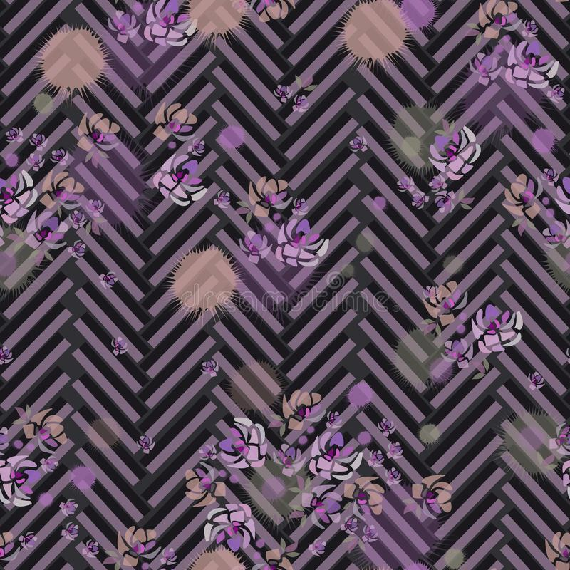 Hand drawn purple roses and stripes on dark gray background vector illustration