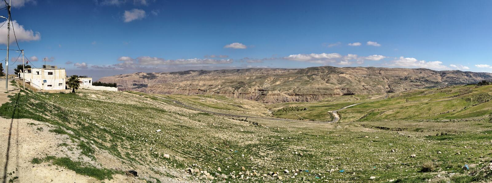 Composite high-resolution panoramic view from the plateau off the Dana Reserve Dana Reserve, an over 1000-metre deep valley cut in. The south-western stock image
