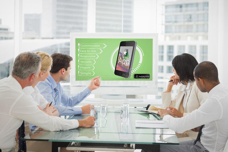 Composite image of ad of a new app. Ad of a new app against business people looking at blank whiteboard in conference room stock images