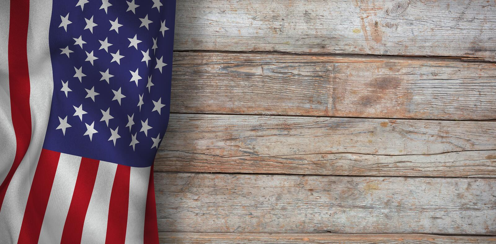 Composite image of american flag. American flag against full frame of wooden wall stock image
