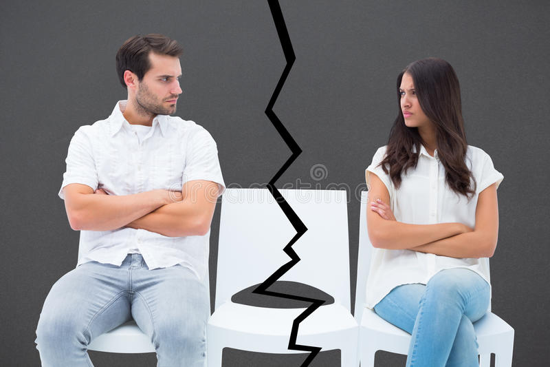 Composite image of angry couple not talking after argument royalty free stock photography