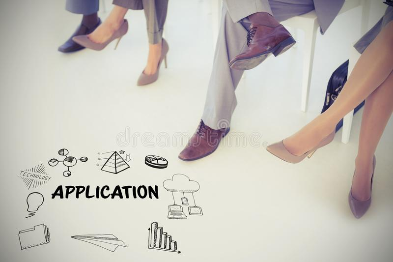 Composite image of application text amidst several icons. Application text amidst several icons against business people sitting and waiting royalty free stock photo
