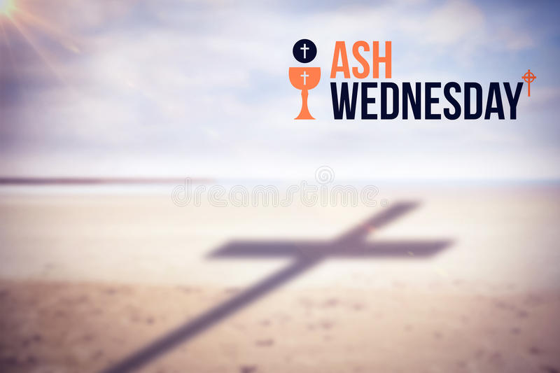 Composite image of ash wednesday text against white background. Ash Wednesday text against white background against scenic view of shore at beach stock photos
