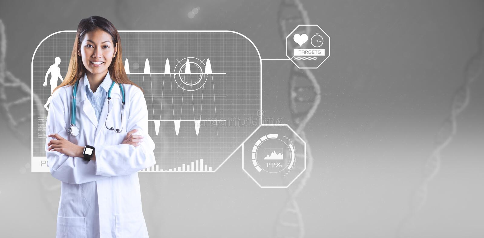 Composite image of asian doctor with smart watch crossing arms stock photos