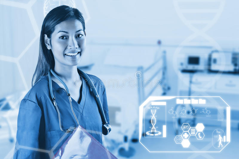 Composite image of asian nurse with stethoscope looking at the camera royalty free stock photography