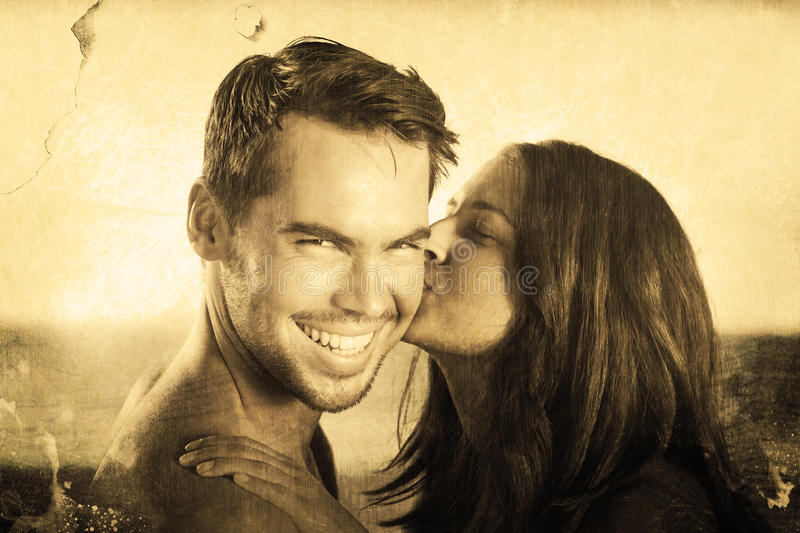 Composite image of attractive woman kissing her boyfriend on the cheek. Attractive women kissing her boyfriend on the cheek against grey background stock illustration