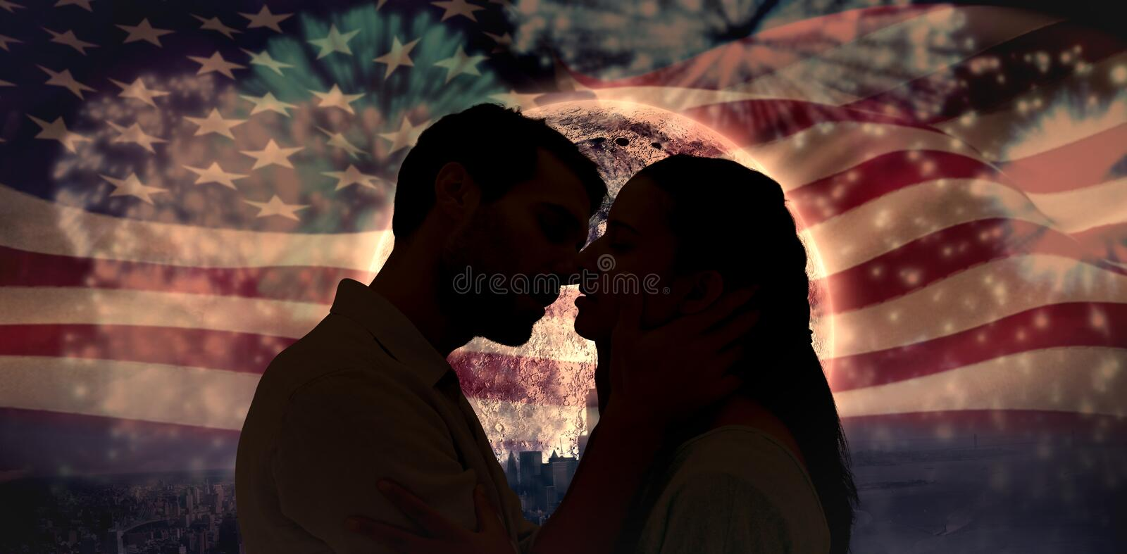 Composite image of attractive young couple about to kiss stock photos