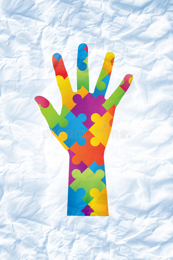 Composite image of autism awareness hand. Autism awareness hand against crumpled white page royalty free illustration