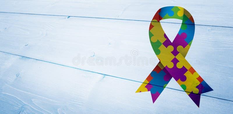 Composite image of autism awareness ribbon. Autism awareness ribbon against bleached wooden planks background stock illustration