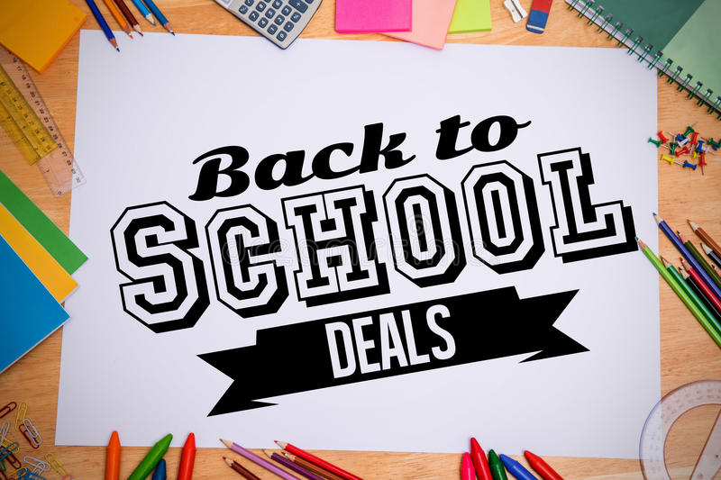 Composite image of back to school deals message vector illustration