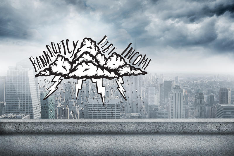 Composite image of bankruptcy doodle. Bankruptcy doodle against balcony overlooking city royalty free stock image