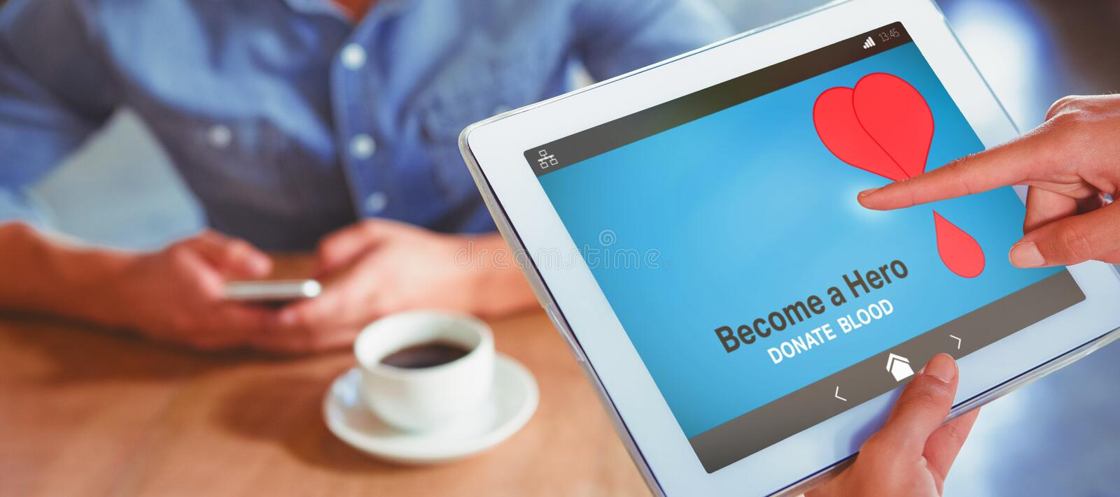Composite image of become a hero text with heart shape on blue screen royalty free illustration
